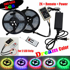 2X 5M SMD 5050 RGB 150LED Dream Color LED Strip Light Waterproof + Remote +Power