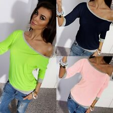 New Fashion Womens Long Sleeve Casual Pullover Blouse Loose Cotton Top T Shirt