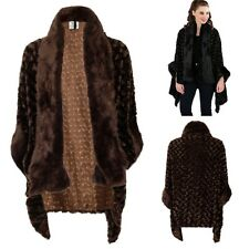 Dramatic 1930's Downton Style Black or Brown Poodle Faux Fur Wrap Cape One Size