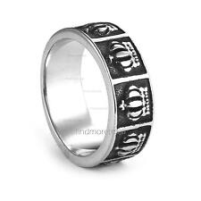 Fashion Jewelry Carved Anaglyptic Crown 316L Stainless Steel Men Women Boy Ring