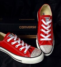 Red Cherry Converse w/ Swarovski Crystal Bling Chuck Taylor Low All Star Shoes