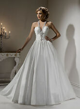 STUNNING LOW BACK TAFFETA BALL GOWN SEXY WEDDING DRESS UK SIZE  4 6 8 10 12
