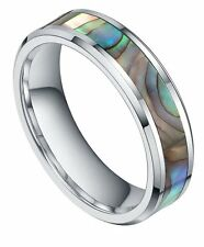 6MM8mm Tungsten Carbide Ring Abalone Shell Inlay Engagement Wedding Band Rings
