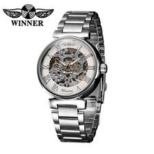 WINNER Luxury Stainless Steel Band Men Mechanical Analog Sport Wrist Watch D5F7