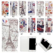 Pretty Tower Diamond PU Leather Card Holder Wallet Stand Case For iPhone Samsung