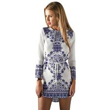 Ethnic Style Women Print Slim Dress Casual Floral Mini Party Cocktail Dress
