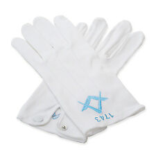 Quality 100% Cotton White Masonic Sq & Compass Gloves with Lodge Number