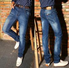 NEW Men Korean Slim Classic Straight-Leg Denim Pants Fashion Jeans Trousers Q198