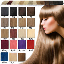 "tape skin real 100% Remy human hair extensions 16""18""20""22""24""26"" straight long"
