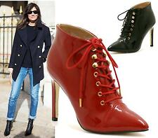 LADIES BLACK RED PATENT HIGH STILETTO HEEL LACE UP ANKLE BOOTS SHOES 3-8