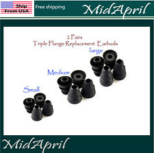 2 pairs Triple Flange Replacement Eartips Earbuds for Sennheiser sony