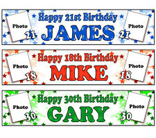 PERSONALISED BANNERS NAME AGE PHOTO BIRTHDAY PARTY 50TH 60TH 70TH 80TH 90TH A1