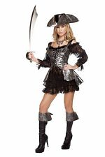 Roma 2pc Deadly Pirate Wench Ruffled Dress w/ Lace Up Vest Deluxe Costume 4573
