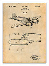 1937 Curtiss-Wright CW-25 Jeep Airplane Patent Print Art Drawing Poster 18X24