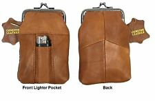 100's Soft Leather Cigarette Pouch Clasp Top Close Lighter Pocket 2pc for $15.50