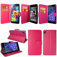HOT PINK COLOUR WALLET FLIP PU LEATHER CASE COVER FOR iPhone & SAMSUNG & SONY