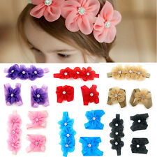3pcs  Baby Girl Kids Barefoot Sandals Shoes Headband Crystal Flower Foot Band