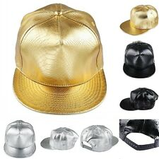 Men Women Snapback Hip-Hop Cap Snakeskin Flat Brim Hat Black Gold Adjustable