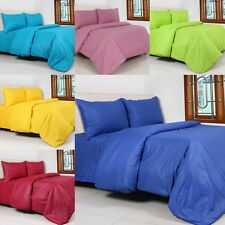 PLAIN COLOR DUVET QUILT BED COVER+PILLOW CASE+FITTED SHEET SINGLE DOUBLE KING