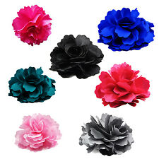 Silk Flower Hair Clip Wedding Corsage Flower Clip 8cm - Gray/Rose DM