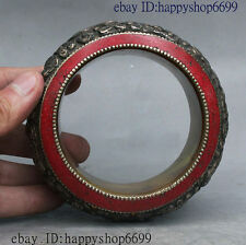 "4"" Old Tibet Royal Palace Turquoise Wealth Carved Dragon Statue Bracelet Bangle"