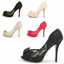 WOMENS STILETTO HIGH HEEL LACE  UPPER PLATFORM PEEP TOE LADIES COURT SHOES SIZE