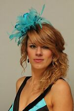 Turquoise Blue  Fascinator Hat/Choose any satin/highlight feather colour