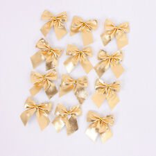 12pcs Red & Gold Velvet Christmas Bows Festive Tree Party Hanging Decorations