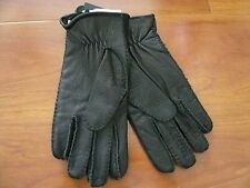NWT $175 POLO RALPH LAUREN SHEEP SHEARLING, LEATHER BLACK GLOVES