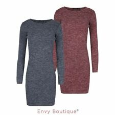 BRAVE SOUL NEW WOMENS LADIES RIBBED KNITTED SCOOP NECK LONG SLEEVE JUMPER DRESS
