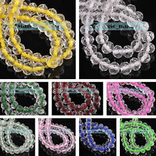 New 6/8mm Colour inside Rondelle Faceted Crystal Glass Loose Spacer Beads