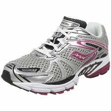 Saucony Girls Progrid Guide 3 Running Shoes, Silver/Black/Pink