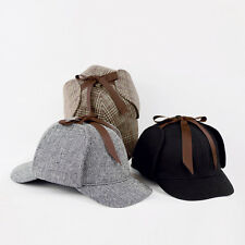Sherlock Holmes Deerstalker Wool Country Tweed Check Ear Flaps Hunting Cap Hat