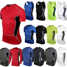 Mens Compression Base Layer Vest T Shirt Skin Tight Tops Sports Cycling Gym Tee