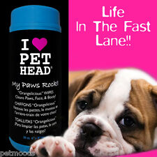 Pet Head MY PAWS ROCK Hypoallergenic Fresh Face Paws Booty Orange 50 Moist WIPES