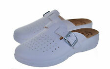 LADIES NURSE KITCHEN CHEF HOSPITAL Slippers WHITE SLIP ON SHOES CASUAL MULES 4-7