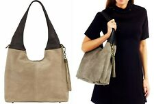 Handbag Bliss Italian Suede & Leather Slouch Shoulder Bag Wide Handle & Tassel