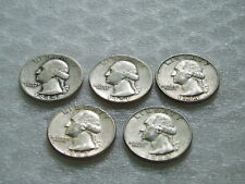 Lot of 5 Washington Quarters 1944P, 1951P, 1961D, 1963P & 1964D - 90% Silver