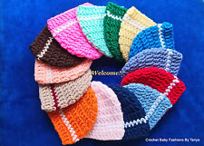 LOOK! CHARMING BABY HATS W/STRIPE - HAND CROCHET- SIZES: PREEMIE, 0-3 MOS,3-6MOS