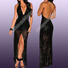Dress Woman Sexy Evening Cocktail Cleavage Back Naked Sequins Slit Halter Neck