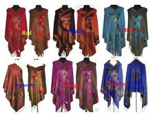 New 6 colour Double-Faced Chinese Women Pashmina Silk Wrap Shawl/Scarf Butterfly