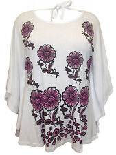 Womens size 16 18   top white short sleeve loose tunic top tie back detail