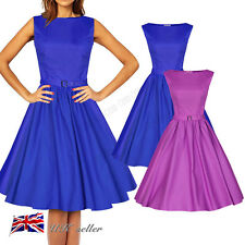 Womens Sleeveless Classy Audrey Vintage 1950s Rockabilly Swing Evening Dresses