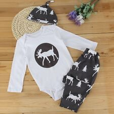 Newborn Baby Boy Girl Deer Romper T-shirt Tops+Pants+Hat 3PCS Outfit Set Clothes