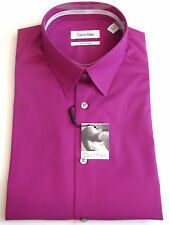 Calvin Klein Solid Tonal Striped Dress Shirt, Body Slim Fit Bright Rose