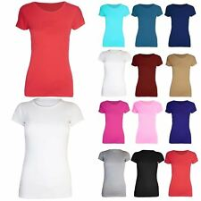 New Womens Cap Sleeves Ladies Plain Stretchy Jersey Cotton Tunic Tee T Shirt Top