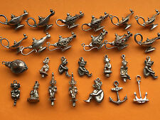 Vintage sterling silver lucky charms: ALADDIN'S LAMP PIXIE LINCOLN IMP ANCHOR