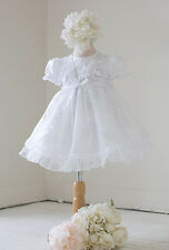 New Baby Girls White Satin Organza Dress Cape Christening Baptism Dedication 590