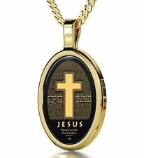 Cross Necklace Christian Jewelry Colossians Inscriptions in 24kt Gold on Onyx