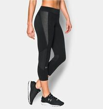 NWT Women's Under Armour HeatGear Armour Crop capri pants BLACK/CARBON size S, M